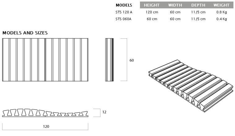 STRIPESORB ARC stripe-shaped acoustic absorber technical drawing detail
