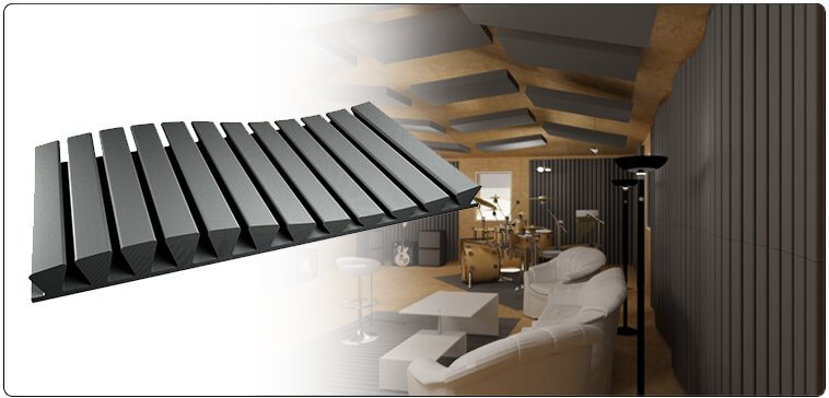 STRIPESORB ARC stripe-shaped acoustic treatment absorber made of self-extinguishing acoustic foam installed in a professional studio