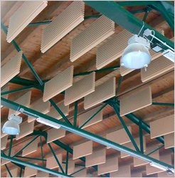 Cream Jocavi acoustic widebaffle suspended in sports hall