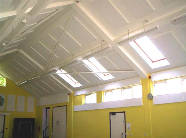 ceiling panels installed to a village hall