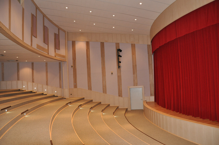 concert hall acoustic absorbers installed