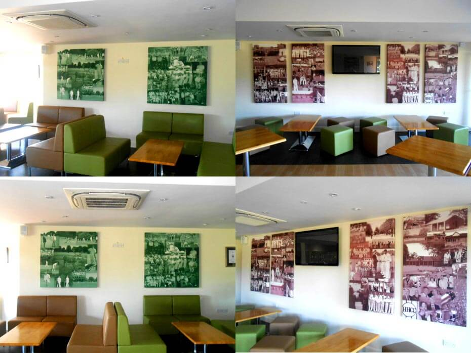 acoustic panels with digital printing in a reception space