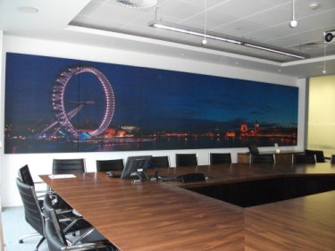 custom printed acoustic panel montage over7m wide in boardroom