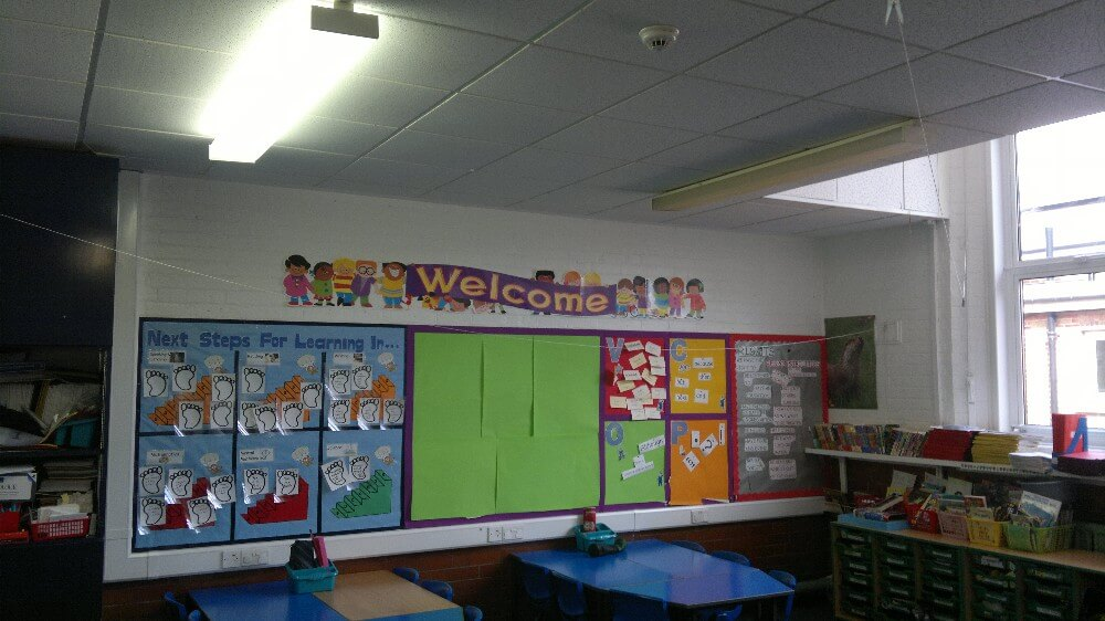 acoustic panels installed in a school