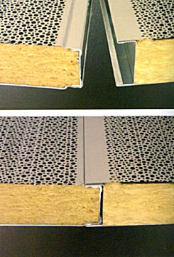 modular acoustic barreir panels showing edge clip detail