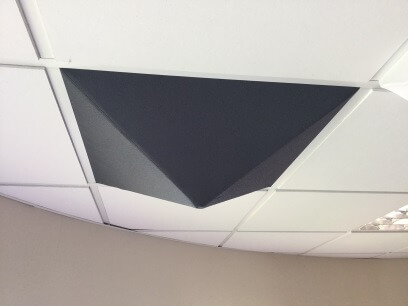 acoustic pyramid ceiling tile installed in a T24 system
