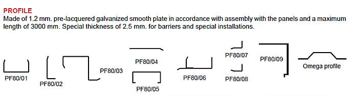 profiles for joining sections and finishing