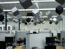 Prosonic Acoustic cubes suspended from ceiling