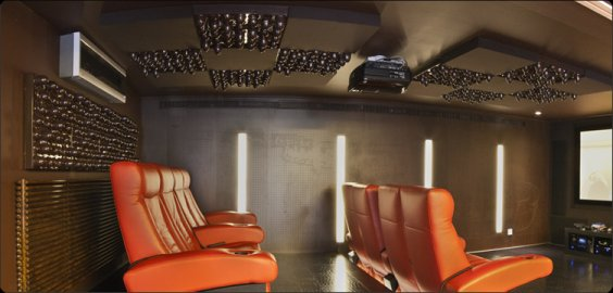 TwoFX 2FX diffusion panels ceiling and wall mounted in a home cinema