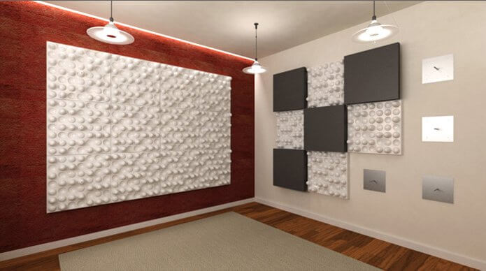 TwoFX 2FX diffusion panels installed on a professional studio wall