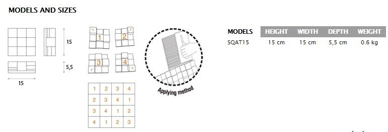Squary diffusor Tile Jocavi Ceramic sizes dimensions