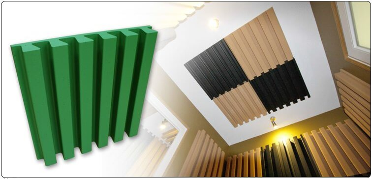 Jocavi Stripefuser acoustic diffusion panel installed on walls and ceilings