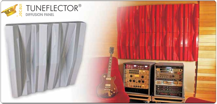Jocavi acoustic diffuser Tuneflector Red Jocavi mounted in home studio wall