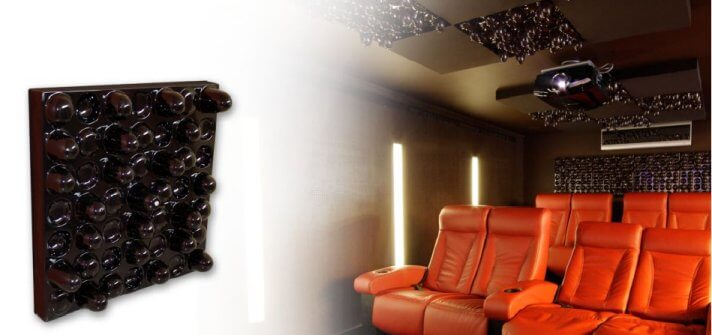 Black TwoFX 2FX diffusion panels installed on a home cinema wall and ceiling