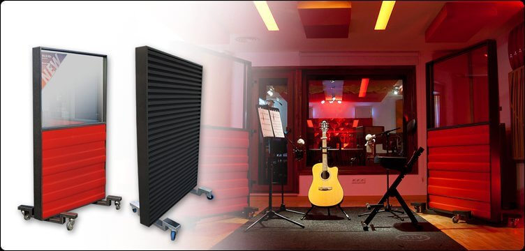 Jocavi acoustic wallblind  positioned in a professional recording studio