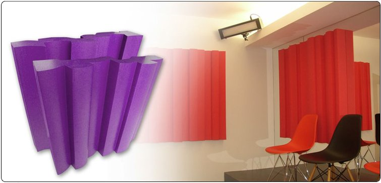 Wavyfuser acoustic diffuser combines a sequence of concave and convex shapes with numerical sequencing which creates a profile surface that optimises the diffusion scattering.