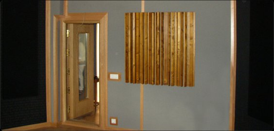 Jocavi WooDiffuser, a solid pinewood diffusion panel. Efficient in a wide range of frequencies.
