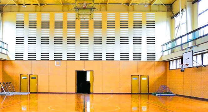 acoustic tubes installed in a sportshall
