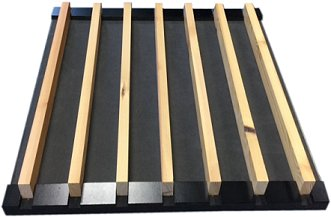 acoustic concealment fabric behind timber slats