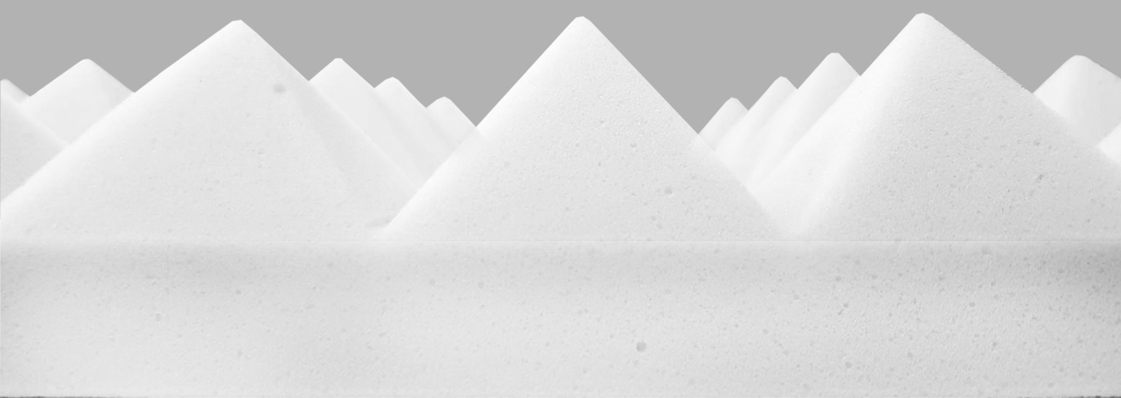 Pyramid side profile white melamine basotect foam