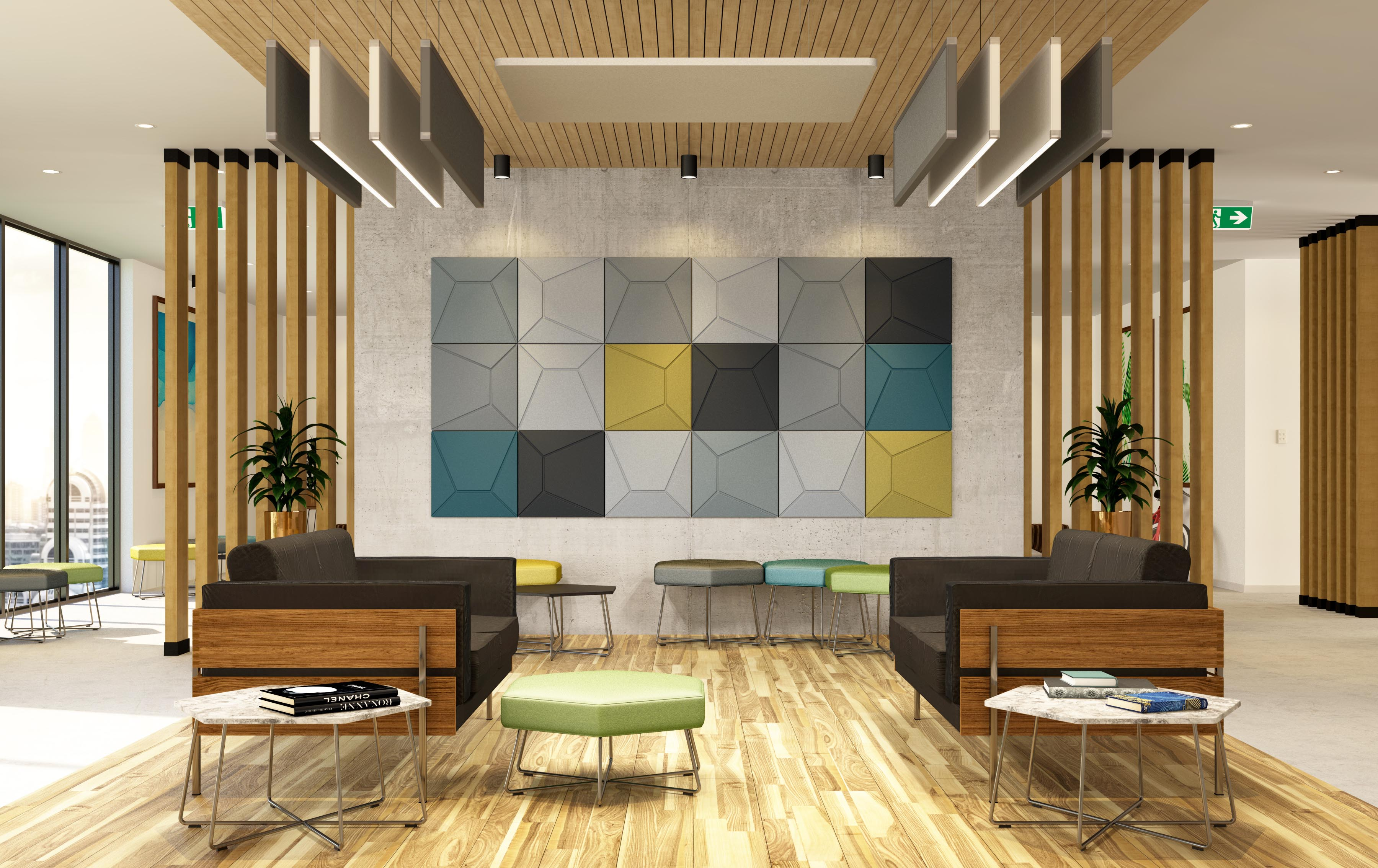 Acoustek multi coloured Roma wall tiles