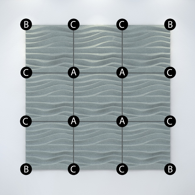 Acoustek tiles wall fixing configuration