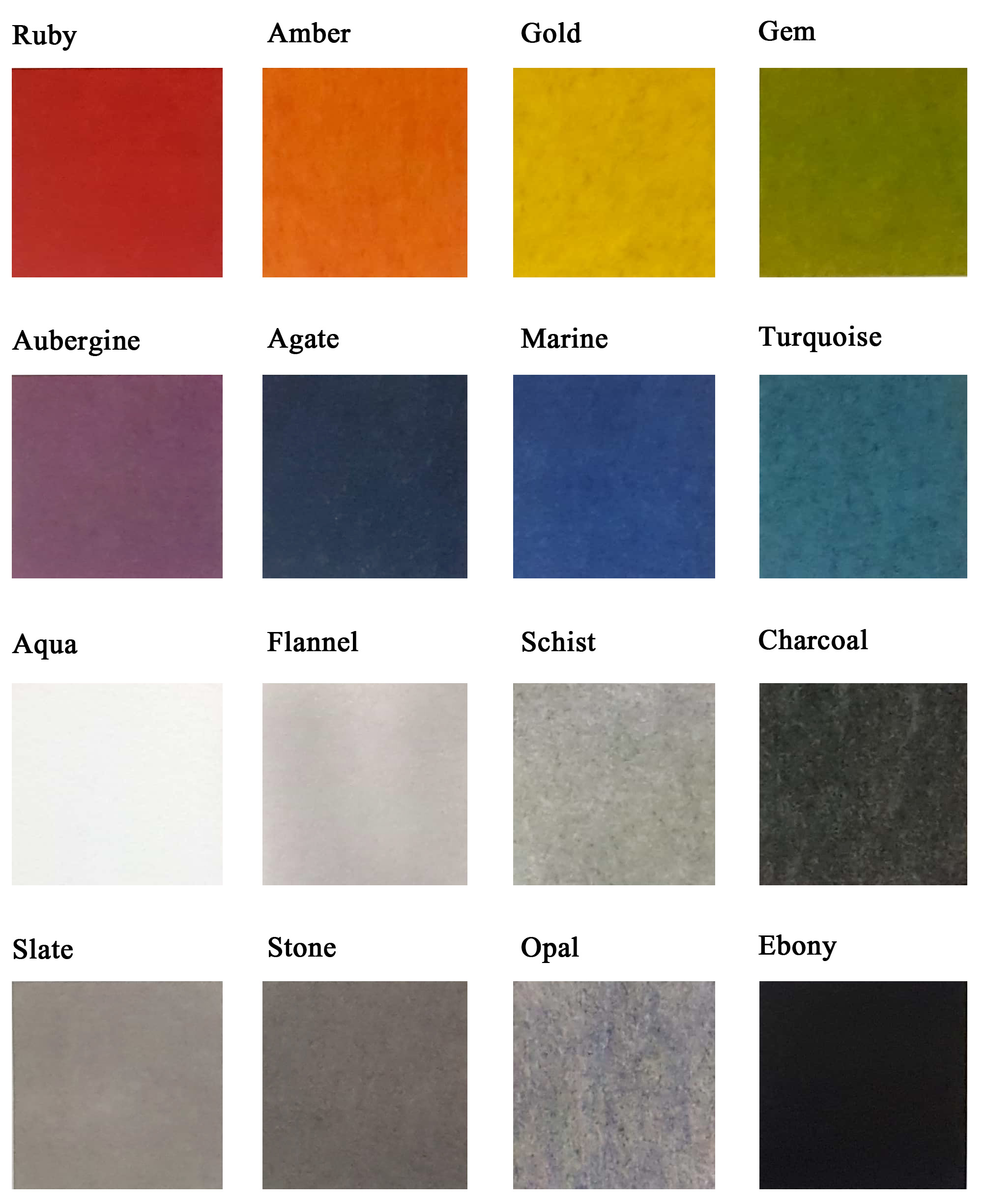 Fabric colour options for acoustek