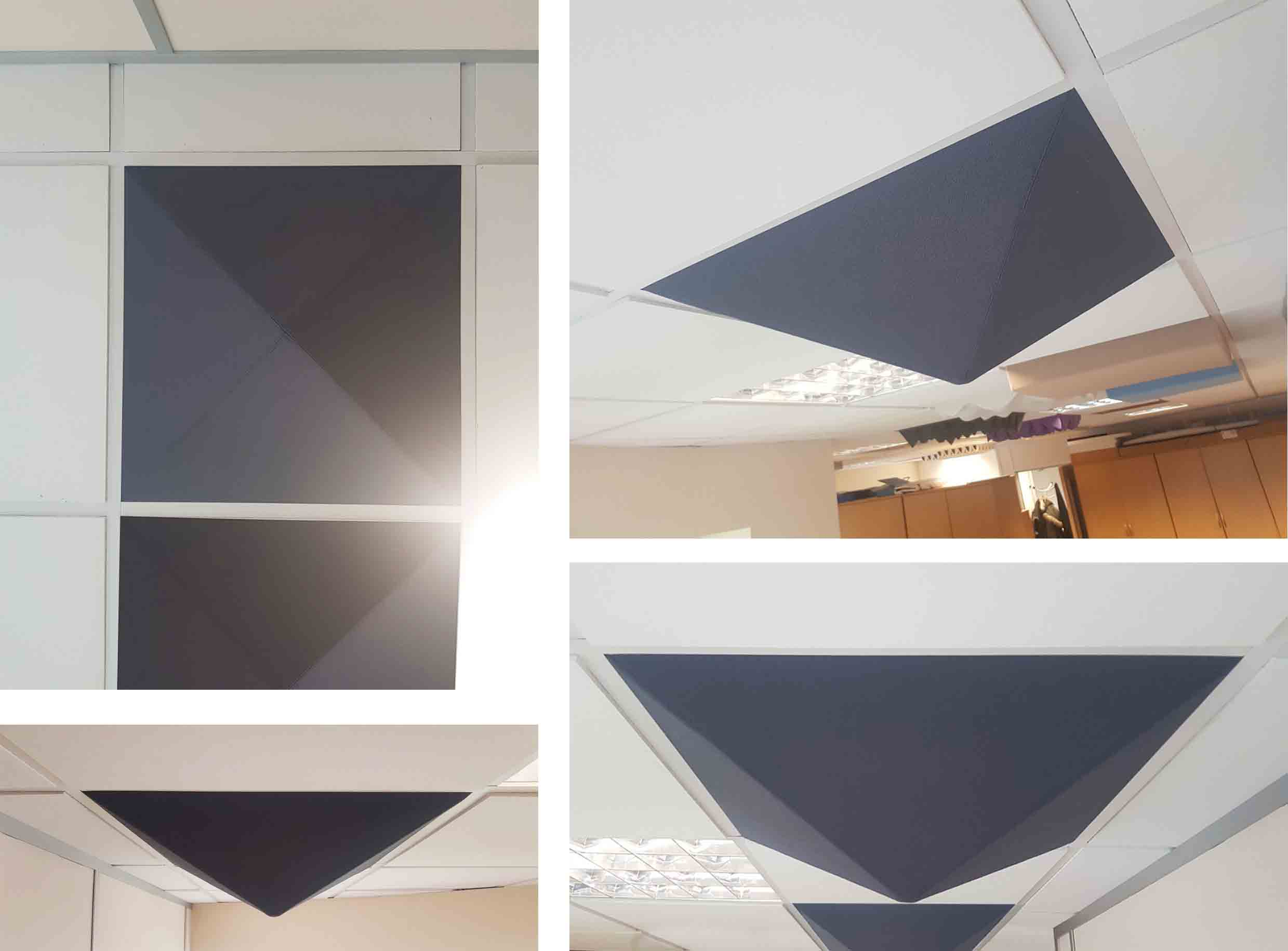 Pyramid acoustic ceiling tile in T24 suspended ceiling grid
