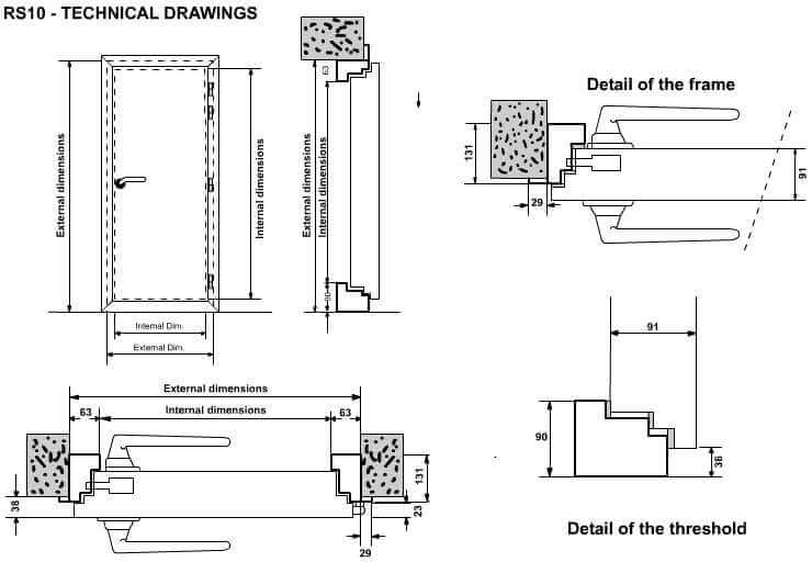 RS10 Seel acoustic door technical detail  sc 1 st  Custom Audio Designs & Soundproofing Steel Acoustic Doors RS10 - 54 dB pezcame.com