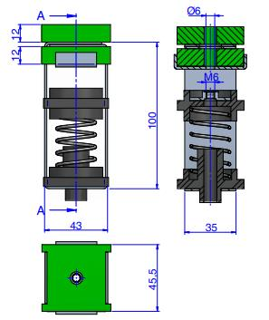 ST5 speaker vibration isolation technical drawing
