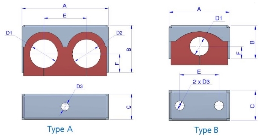 resilient pipe mount technical drawing dimensions