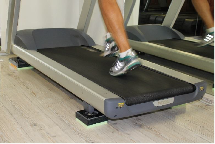 treadmill vibration reduction pads installed
