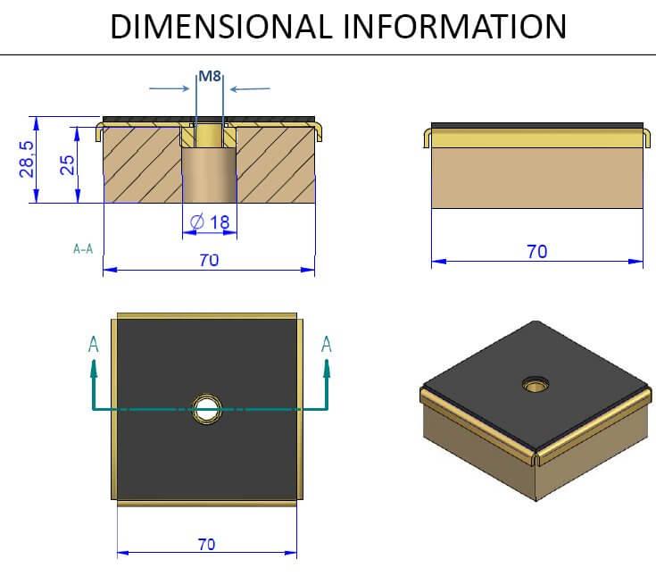 TSR anti vibration mount isometric drawing